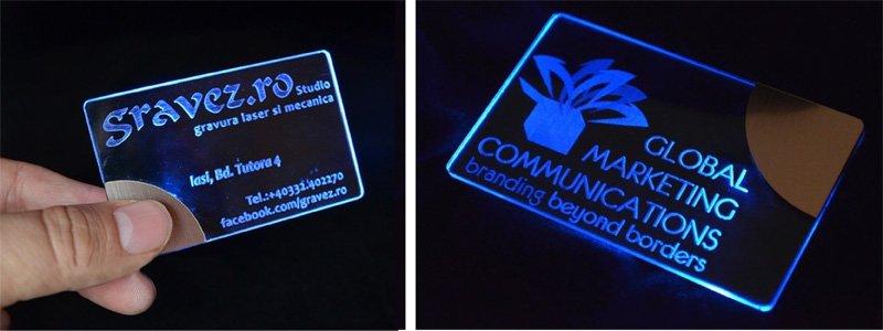 LED lit business cards