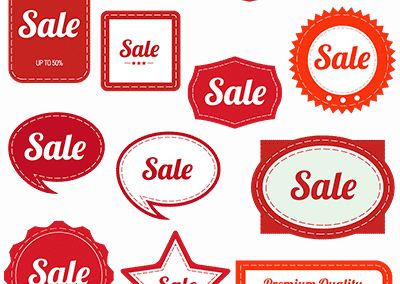 red vintage sale graphics