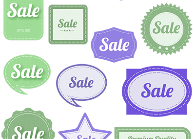 violet & green vintage sale graphics