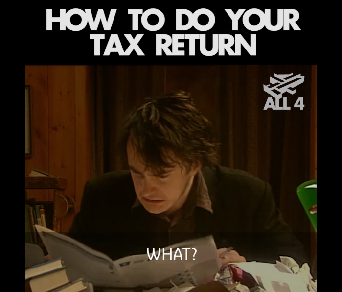 Bernard doing his tax return - Black Books